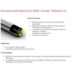 Rouleau ACIER 300 Ø50 Axe Ø12 taraudé M8