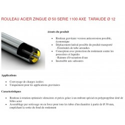 Rouleau ACIER 600 Ø50 Axe Ø12 taraudé M8